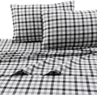Tribeca Living 200-gsm Micro Plaid Printed Extra Deep Pocket Flannel Twin Xl Sheet Set Bedding