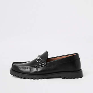 River Island Black leather snaffle chunky sole loafer