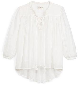 Ralph Lauren Denim & Supply Lace-Up Cotton Peasant Top $98 thestylecure.com