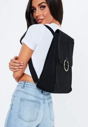 Missguided Black Ring Detail Backpack, Black