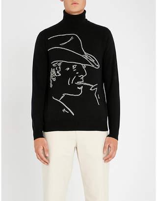 Ralph Lauren Purple Label Cowboy-motif wool and cashmere-blend turtleneck jumper