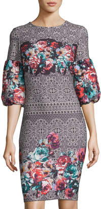 Label By 5twelve Printed Scuba Puffy-Sleeve Bodycon Dress