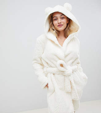 Asos DESIGN Petite pom pom ear super soft robe