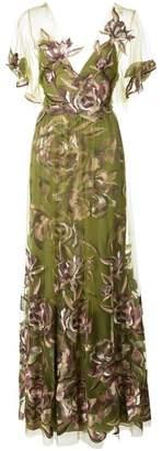 Marchesa floaty floral evening dress