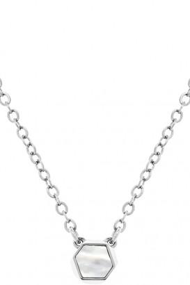 Karen Millen Jewellery Ladies Silver Plated Polyhedra Stone Pendant KMJ1021-01-46