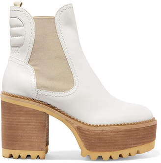 See by Chloe Erika Leather Platform Ankle Boots - White