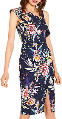 Oasis Floral Print Pencil Dress, Blue/Multi