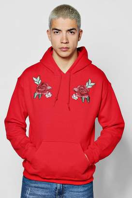 boohoo Twin Rose Embroidered Hoodie