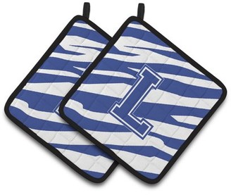 Caroline's Treasures Monogram Initial L Tiger Stripe Blue and White Pair of Pot Holders
