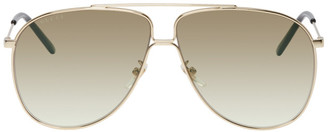 Gucci Gold Ultra-Light Aviator Sunglasses