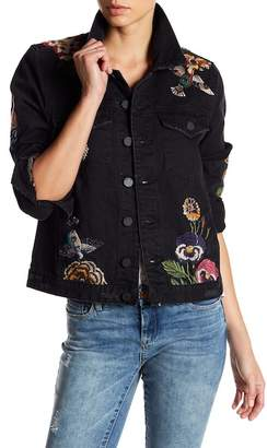 Blank NYC BLANKNYC Floral Embroidered Trucker Jacket
