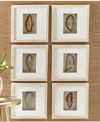Twos Company Two's Company Genuine Geode Wall Art in White Wash Wooden Frame - Set of 6