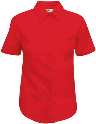 Fruit of the Loom Ladies Lady-Fit Short Sleeve Poplin Shirt (XL)