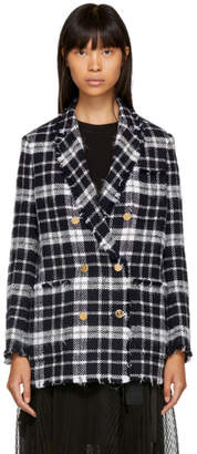 Thom Browne Navy Tartan Tweed Double-Breasted Sack Blazer