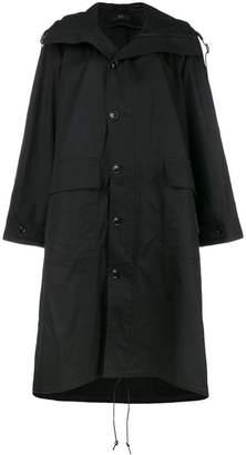 Y's hooded mid-length coat