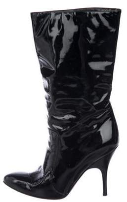 Lanvin Patent Leather Mid-Calf Boots Navy Patent Leather Mid-Calf Boots
