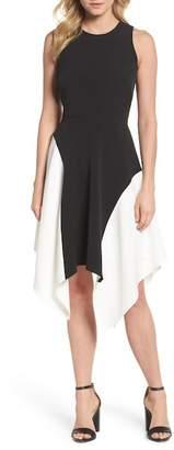 Maggy London Colorblock Crepe Midi Dress