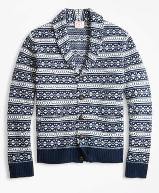 Brooks Brothers Fair Isle Wool-Blend Shawl-Collar Cardigan
