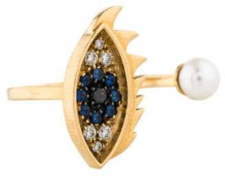 Delfina Delettrez 18K Pearl Eyes On Me Piercing Ring