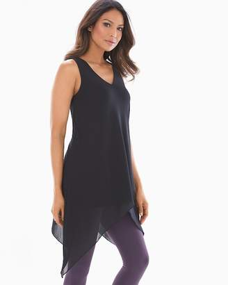 Soft Jersey Layered Mesh Asymmetrical Hem Tunic Black
