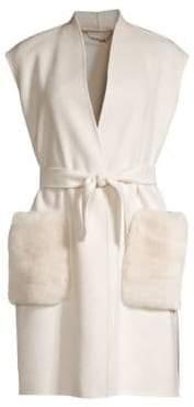 Elie Tahari Deanna Rabbit Fur Pocket Double Face Wool Vest
