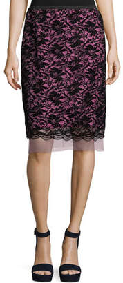 Marc Jacobs Flocked Floral Lace Straight Skirt with Scallop Hem