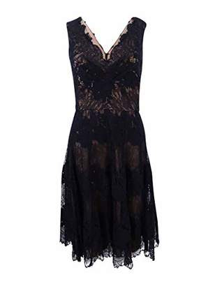 Vera Wang Women's Sleeveless Double V Neck Lace Cocktail Dress