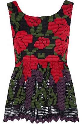 Anna Sui Tie-Back Crocheted Top