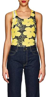 "Calvin Klein Women's ""Flowers"" Rib-Knit Cotton Tank - Optic White Yellow Black"