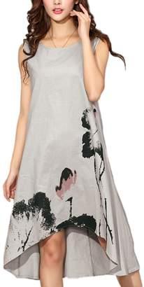 Zonsaoja Womens Sleeveless Casual Tunic Shirt Dress High Low Beach Sundress 4XL