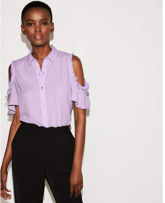 Express tie sleeve cold shoulder button-up shirt