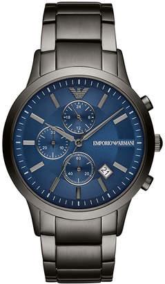 Emporio Armani Men Chronograph Gunmetal Stainless Steel Bracelet Watch 43mm