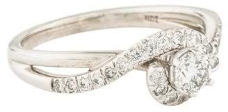Palladium Diamond Swirl Engagement Ring