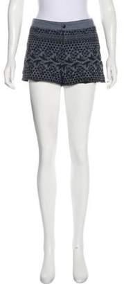 Anna Sui Denim Embroidered Shorts blue Denim Embroidered Shorts
