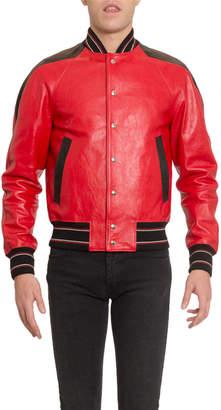 Givenchy Men's V-Cut Leather Blouson Jacket