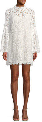 Endless Rose Mock-Neck Lace Illusion Shift Dress