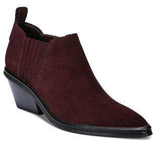 Via Spiga Women's Farly Pointed Toe Suede Mid-Heel Ankle Booties