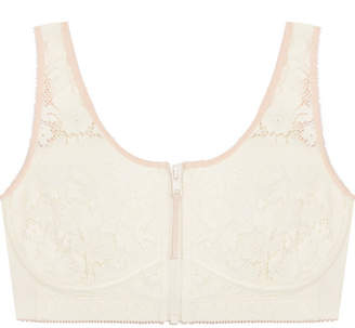 Stella McCartney Breast Cancer Awareness Louise Listening Cotton-blend Jersey And Lace Soft-cup Bra - Cream