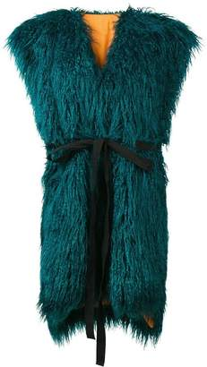 MM6 MAISON MARGIELA faux fur sleeveless coat