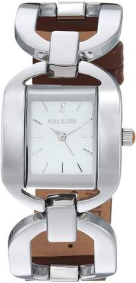 Steve Madden Women's Quartz Silver-Tone and Alloy Casual Watch, Color:Brown (Model: SMW048BR)