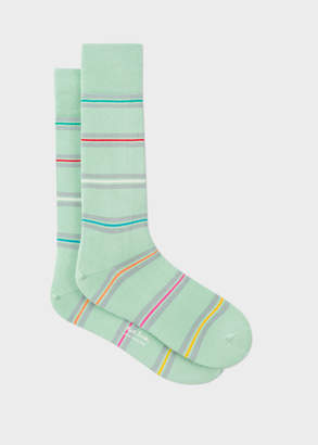 Paul Smith Men's Mint Green Bright Thin-Stripe Socks