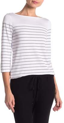 Three Dots Striped 3/4 Sleeve Boatneck Tee