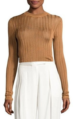 DKNY Sheer Stripe Jersey Pullover Sweater, Copper $258 thestylecure.com