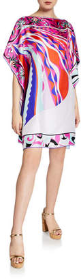 Emilio Pucci Printed 1/2-Sleeve Silk Short Dress