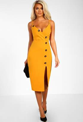 157bd40aeef Pink Boutique Lady At Lunch Mustard Button Front Midi Dress