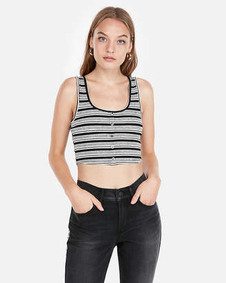 Express One Eleven Striped Button Front Cropped Tank