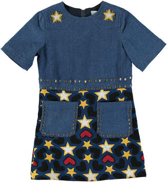 Stella McCartney Denim Heart & Stars Short-Sleeve Dress, Size 4-14