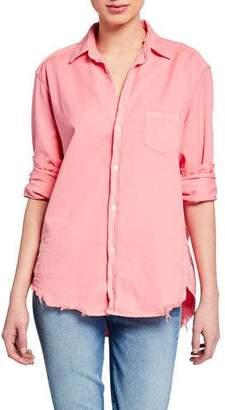 Frank And Eileen Button-Down Long-Sleeve Frayed-Hem Cotton Shirt, Candy Pink