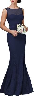 Ssyiz Custom Women's Elegant Floral Lace Open Back Wedding Evening Dress