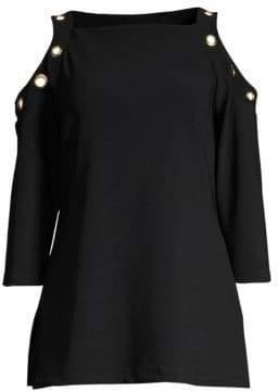 Donna Karan Cold-Shoulder Grommet Top